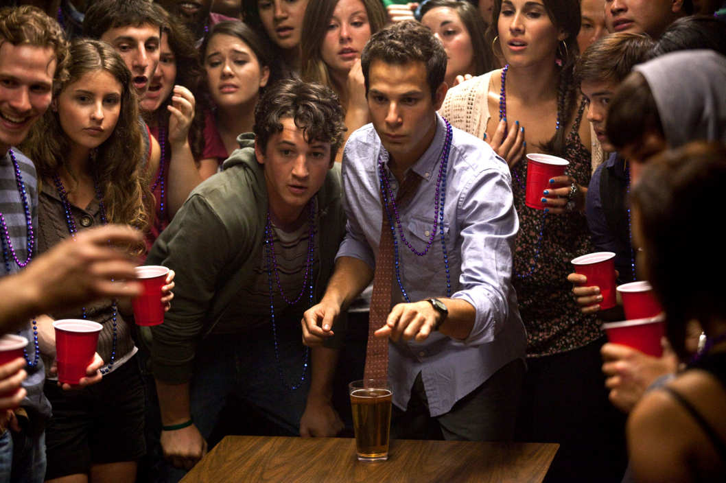 "(Center left to right.)  Myles Teller and Skylar Astin star in Relativity Media's ""21 & Over""."