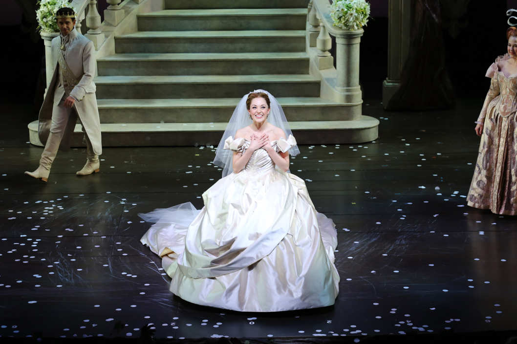 "NEW YORK, NY - MARCH 03:  Actress Laura Osnes on stage at the ""Cinderella"" Broadway Opening Night curtain call at Broadway Theatre on March 3, 2013 in New York City.  (Photo by Neilson Barnard/Getty Images)"