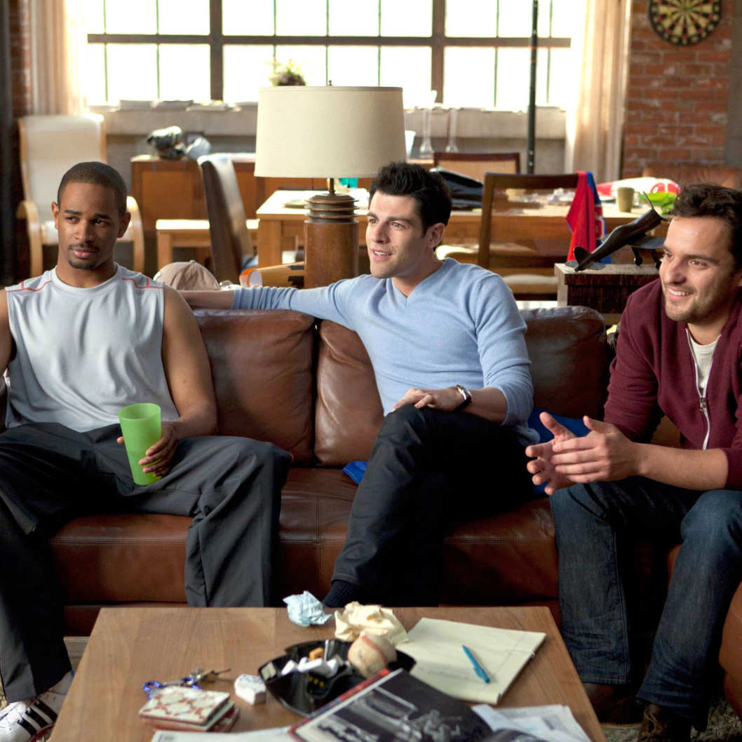 NEW GIRL: The new comedy starring Zooey Deschanel as an adorkable girl who moves in with three single guys, changing their lives in unexpected ways, premieres Tuesday, Sept. 20 (9:00-9:30 PM ET/PT) on FOX.  Pictured:  Damon Wayans Jr., Max Greenfield, Jake Johnson.
