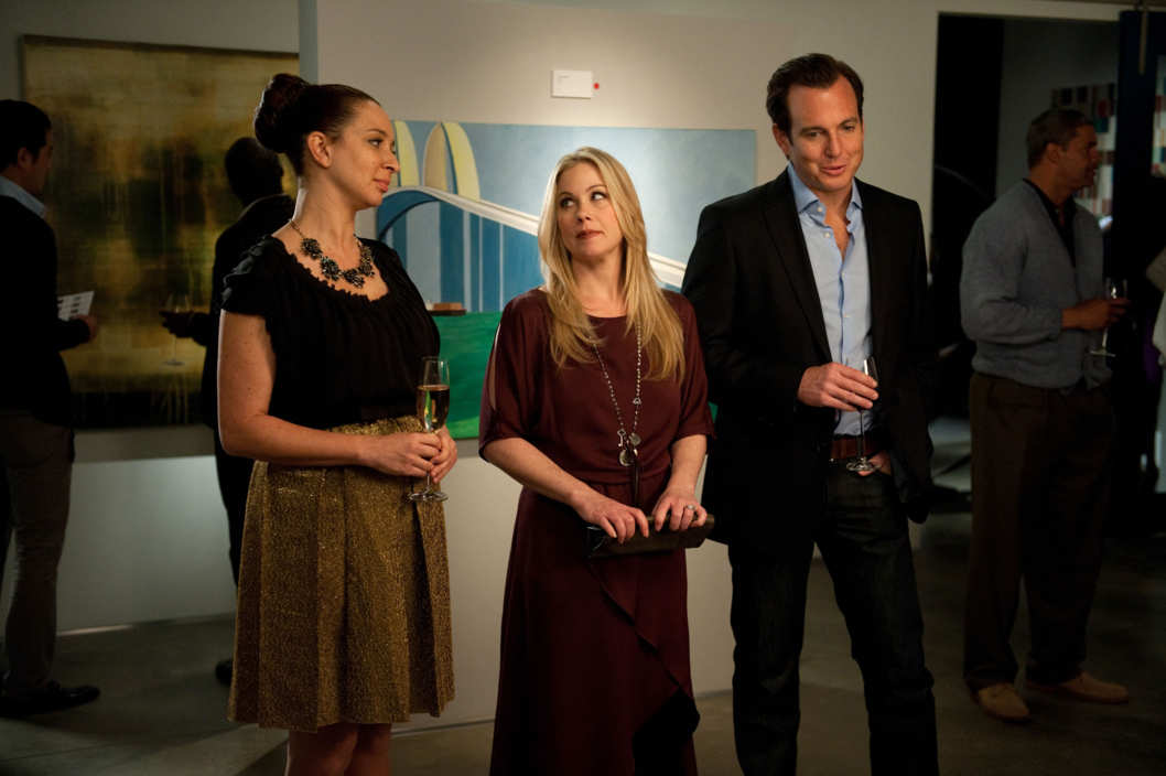 "UP ALL NIGHT -- ""Baby Fever"" Episode 120 -- Pictured: (l-r) Maya Rudolph as Ava Alexander, Christina Applegate as Reagan Brinkley, Will Arnett as Chris Brinkley"
