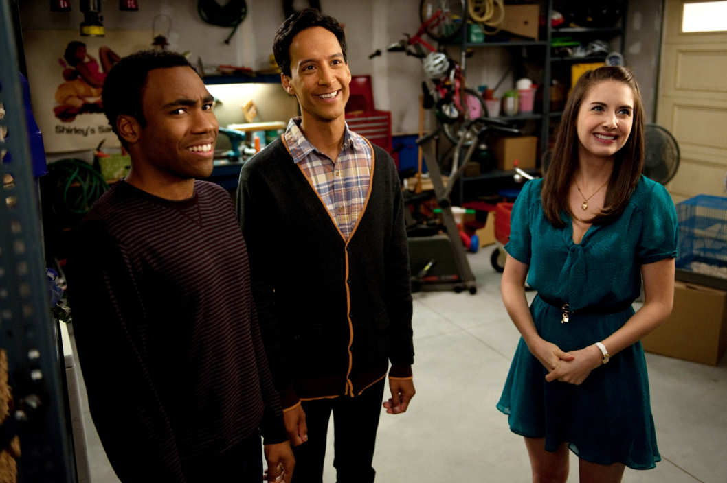 "COMMUNITY -- ""Cooperative Escapism In Familial Relations"" Episode 405 -- Pictured: (l-r) Donald Glover as Troy, Danny Pudi as Abed, Alison Brie as Annie"