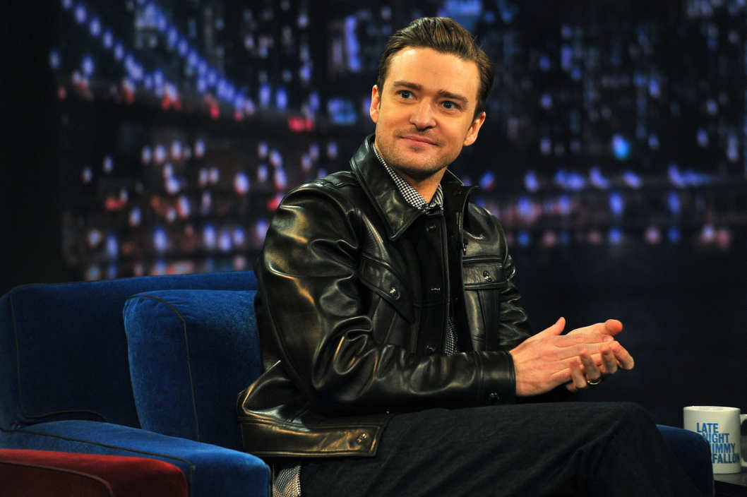 "Justin Timberlake visits ""Late Night With Jimmy Fallon"" at Rockefeller Center on March 11, 2013 in New York City."