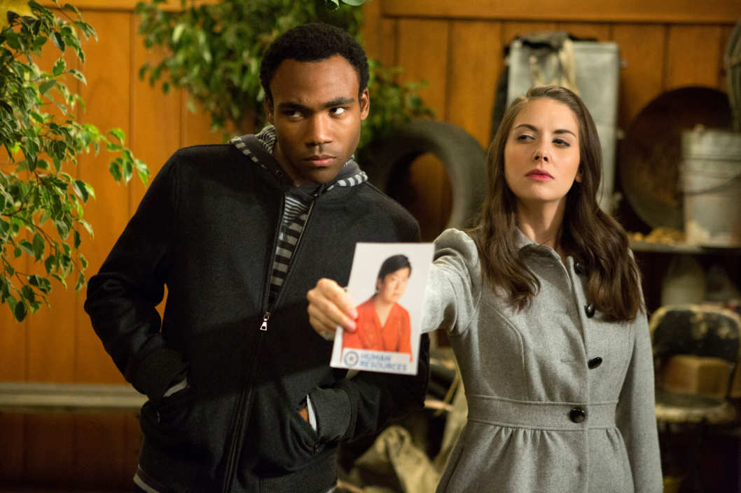 "COMMUNITY -- ""Advanced Documentary Filmmaking"" Episode 408 -- Pictured: (l-r) Donald Glover as Troy, Alison Brie as Annie"