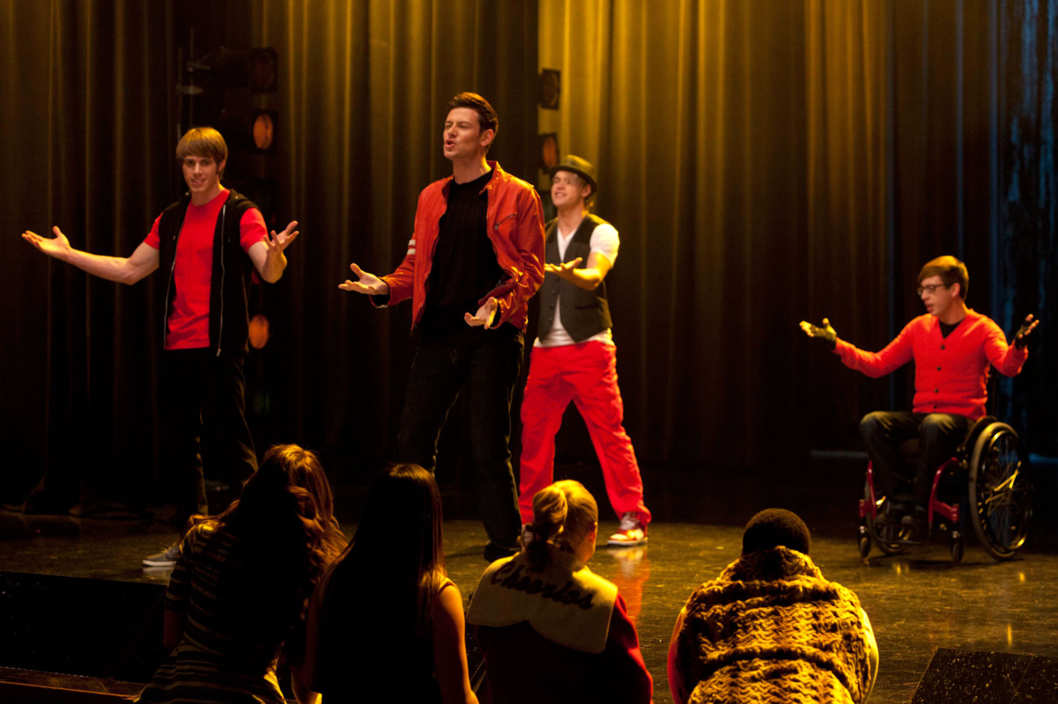 "GLEE: Finn (Cory Monteith, C), Ryder (Blake Jenner, L), Sam (Chord Overstreet, third from L) and Artie (Kevin McHale, R) perform in the ""Feud"" episode of GLEE  airing on Thursday, March 14  (9:00-10:00 PM ET/PT)"