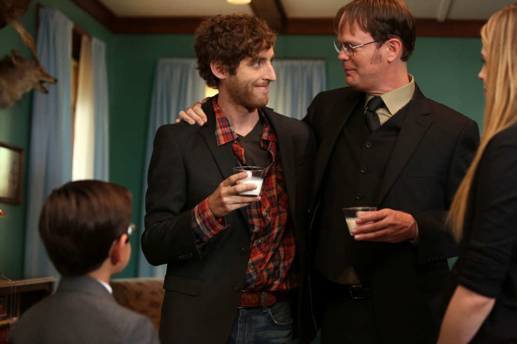 "THE OFFICE -- ""The Farm"" Episode 905 -- Pictured: (l-r) Thomas Middleditch as Jeb Schrute, Rainn Wilson as Dwight Schrute"