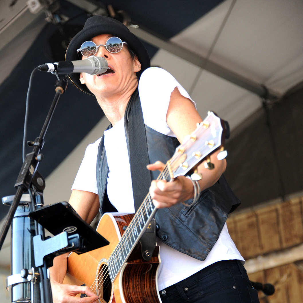 Michelle Shocked performs on the fourth day of the New Orleans Jazz & Heritage Festival that is taking place at the Fair Grounds Race Course located in New Orleans.