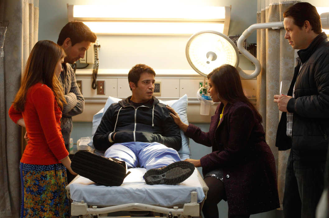 "THE MINDY PROJECT: Betsy (Zoe Jarman, L), Jeremy (Ed Weeks, second from L), Mindy (Mindy Kaling, second from R) and Morgan (Ike Barinholtz, R) visit Danny (Chris Messina, C) in the hospital in the ""Mindy's Birthday"" episode of THE MINDY PROJECT airing Tuesday, March 19 (9:30-10:00 PM ET/PT)"