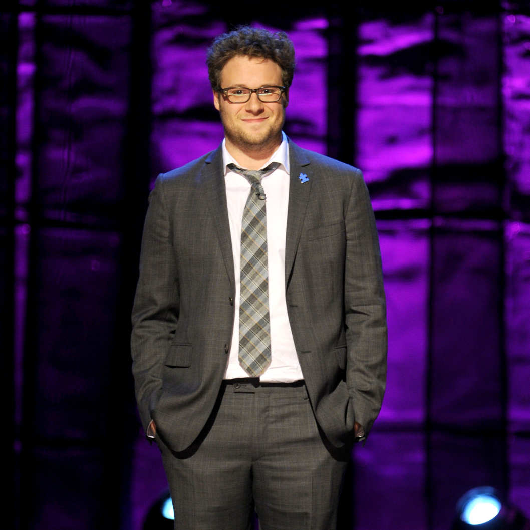 Seth Rogen speaks onstage at Comedy Central's night of too many stars: America comes together for autism programs at The Beacon Theatre on October 13, 2012 in New York City.