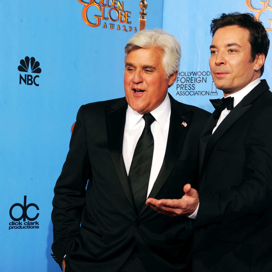 TV personalities Jay Leno (R) and Jimmy Fallon pose in the press room during the 70th Annual Golden Globe Awards held at The Beverly Hilton Hotel on January 13, 2013 in Beverly Hills, California.BEVERLY HILLS, CA - JANUARY 13:  TV personalities Jay Leno (R) and Jimmy Fallon pose in the press room during the 70th Annual Golden Globe Awards held at The Beverly Hilton Hotel on January 13, 2013 in Beverly Hills, California.  (Photo by Kevin Winter/Getty Images)