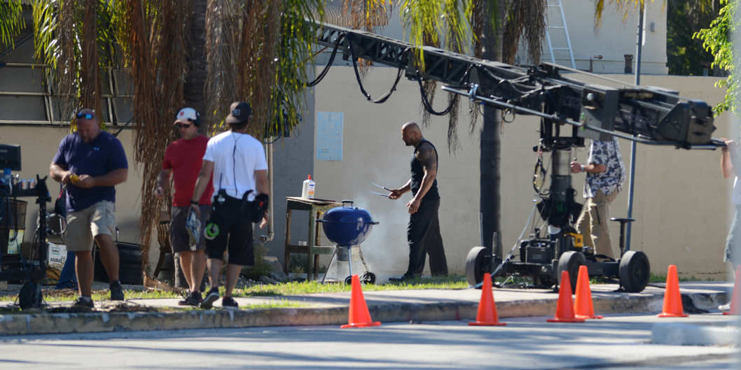 "Actor/wrestler Dwayne Johnson films a scene for 'Pain and Gain' in Miami, Florida. Dwayne ""The Rock"" Johnson BBQ's a severed hand on the set."