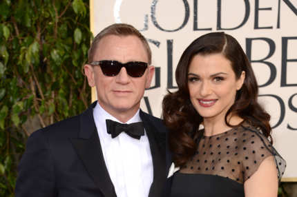 BEVERLY HILLS, CA - JANUARY 13:  Actor Daniel Craig (L) and wife actress Rachel Weisz arrive at the 70th Annual Golden Globe Awards held at The Beverly Hilton Hotel on January 13, 2013 in Beverly Hills, California.  (Photo by Jason Merritt/Getty Images)