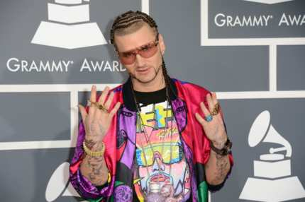 LOS ANGELES, CA - FEBRUARY 10:  Rapper Riff Raff arrives at the 55th Annual GRAMMY Awards at Staples Center on February 10, 2013 in Los Angeles, California.  (Photo by Jason Merritt/Getty Images)