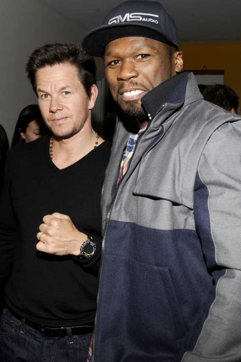 "Mark Wahlberg, Curtis ""50 Cent"" Jackson==The Cinema Society and Men's Fitness host a screening of ""Pain and Gain""==Crosby Street Hotel, NYC==April 15, 2013."
