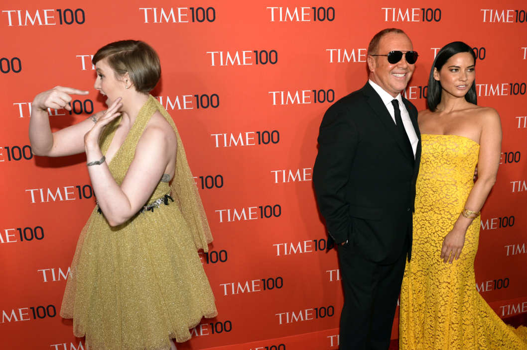 Lena Dunham, Michael Kors and Olivia Munn attend the Time 100 Gala celebrating the Time 100 issue of the Most Influential People In The World at Jazz at Lincoln Center on April 23, 2013  in New York.         AFP PHOTO / TIMOTHY A.CLARY        (Photo credit should read TIMOTHY A. CLARY/AFP/Getty Images)