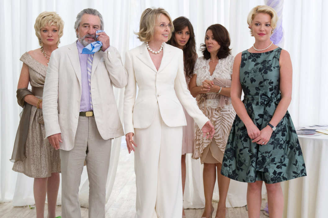 From left to right: Muffin (Christine Ebersole), Don (Robert De Niro), Ellie (Diane Keaton), Nuria (Ana Ayora), Madonna (Patricia Rae) and Lyla (Katherine Heigl) in THE BIG WEDDING.   Photo credit: Barry Wetcher