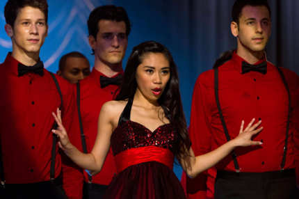 "GLEE: AMERICAN IDOL Season 11 runner-up Jessica Sanchez (C) performs on a rival team competing against New Directions at Regionals in the ""All Or Nothing"" season finale episode of GLEE airing Thursday, May 9 (9:00-10:00 PM ET/PT) on FOX. ©2013 Fox Broadcasting Co. CR: Adam Rose/FOX"