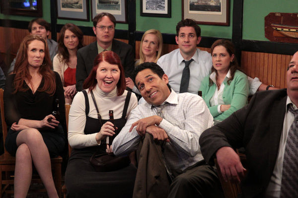 "THE OFFICE -- ""A.A.R.M."" Episode 922 -- Pictured: (l-r) Catherine Tate as Nellie Bertram, Jake Lacy as Pete, Ellie Kemper as Erin Hannon, Rainn Wilson as Dwight Schrute, Kate Flannery as Meredith Palmer, Angela Kinsey as Angela Martin, Oscar Nunez as Oscar Martinez, John Krasinski as Jim Halpert, Jenna Fischer as Pam Beesly Halpert -- (Photo by: Chris Haston/NBC)"