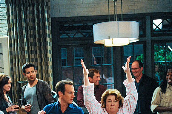 """Pilot"" -- CBS'™s new comedy THE MILLERS stars Will Arnett (center) as Nathan Miller, a recently divorced local roving news reporter looking forward to living the singles'™ life until his parents'™ marital problems unexpectedly derail his plans. Margo Martindale portrays his meddlesome mother, Carol, who decides to move in with him.  In this scene, Carol sleepwalks her way into Nathan's party and shares a dance with him.   THE MILLERS will premiere this Fall, Thursdays (8:30-9:00 PM ET/PT) on the CBS Television Network."