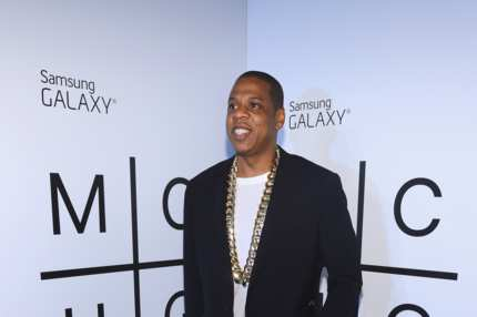 JAY Z attends JAY Z and Samsung Mobile's celebration of the Magna Carta Holy Grail album, available now through a customized app in Google Play and Samsung Apps exclusively for Samsung Galaxy S 4, Galaxy S III and Note II users on July 3, 2013 in Brooklyn City.