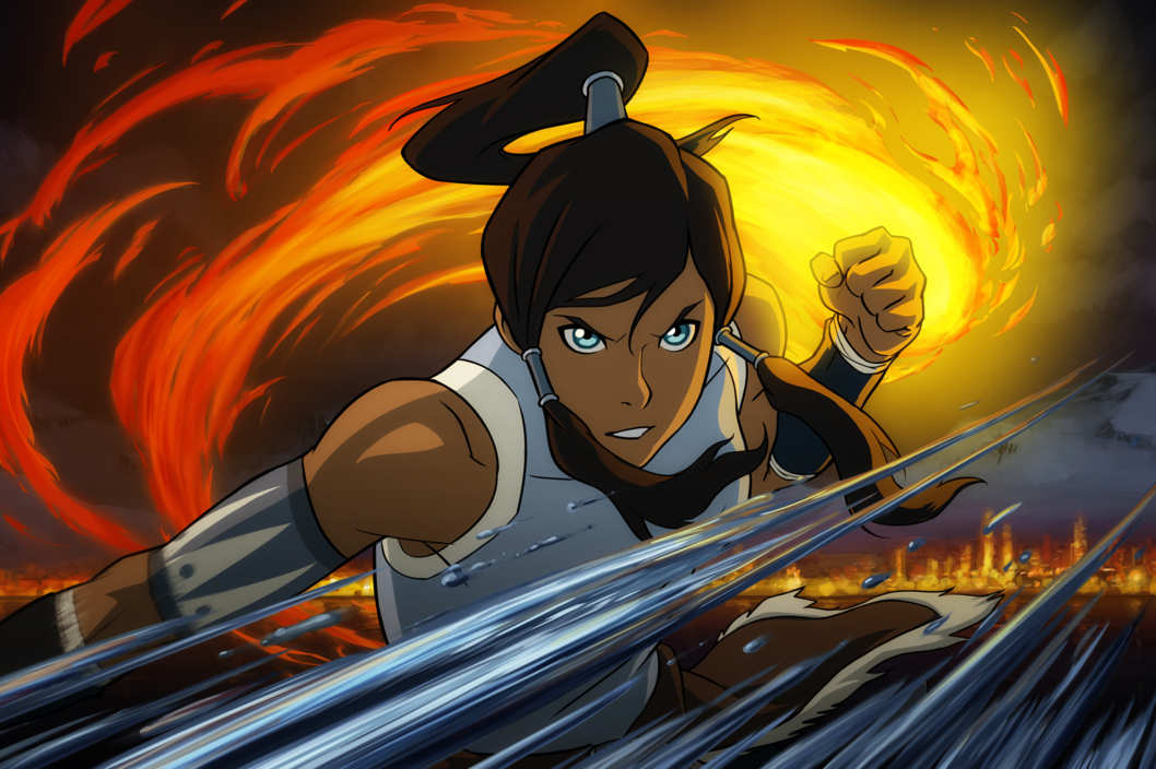 Pictured:  Korra demonstrates fire and waterbending in THE LEGEND OF KORRA on Nickelodeon.  Photo: Nickelodeon.  ?2012 Viacom, International, Inc.  All Rights Reserved