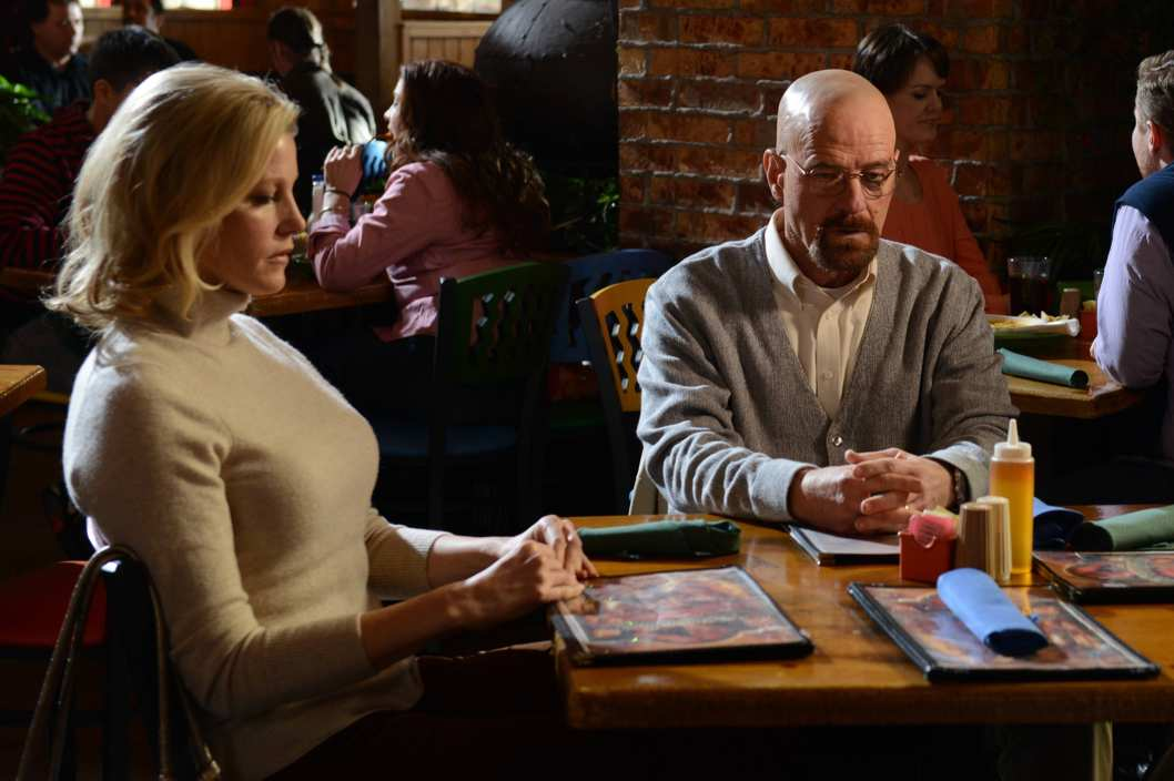 Skyler White (Anna Gunn) and Walter White (Bryan Cranston) - Breaking Bad _ Season 5, Episode 11 - Photo Credit: Ursula Coyote/AMC