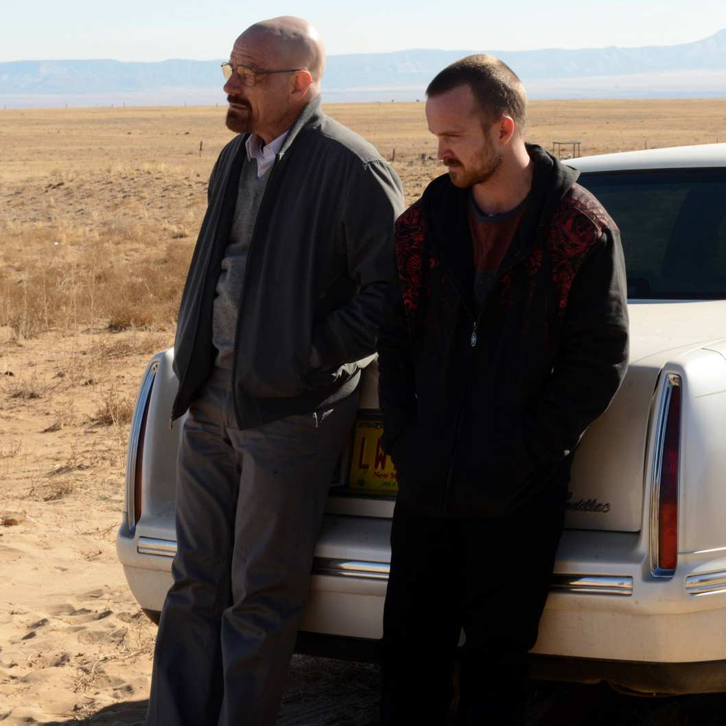 Walter White (Bryan Cranston) and Jesse Pinkman (Aaron Paul) - Breaking Bad _ Season 5, Episode 11 - Photo Credit: Ursula Coyote/AMC