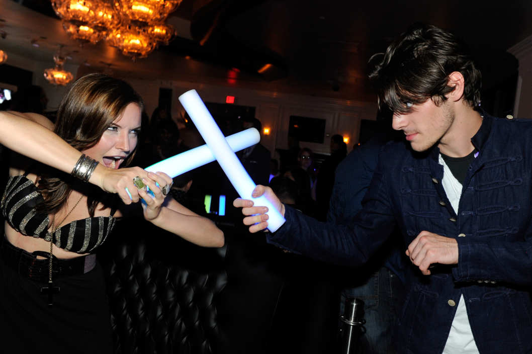 LAS VEGAS, NV - AUGUST 23:  Actress Lindsey Haun (L) and actor RJ Mitte attend Mitte's 21st birthday celebration at Ghostbar at the Palms Casino Resort on August 23, 2013 in Las Vegas, Nevada.  (Photo by David Becker/WireImage)