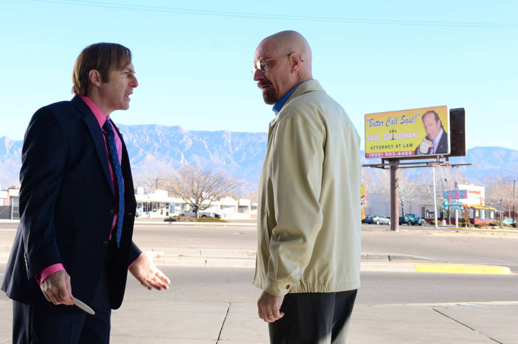 Saul Goodman (Bob Odenkirk) and Walter White (Bryan Cranston) - Breaking Bad _ Season 5, Episode 13 - Photo credit: Ursula Coyote/AMC