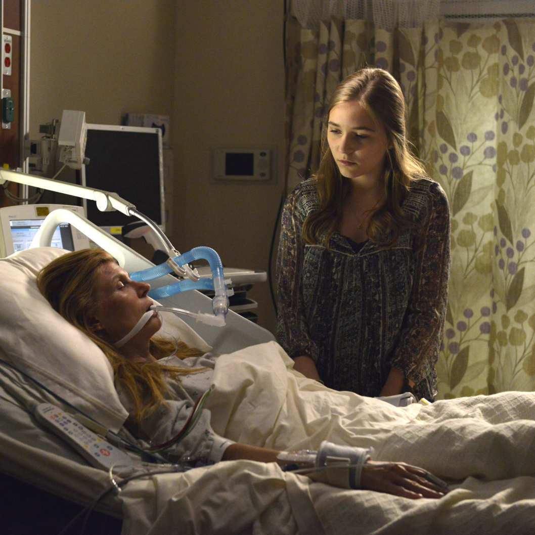 "NASHVILLE - ""I Fall to Pieces"" - After the crash, Rayna is in a coma and Deacon is left to wait on his pending jail sentence. Teddy is still shell-shocked about Peggy's pregnancy and struggles to understand where he belongs... Is it by Rayna's side with his daughters? Meanwhile, Maddie grapples with the revelation that Deacon is her father and, feeling alone, turns to Juliette, unwittingly revealing the details of what happened before the traumatic crash. And Gunnar and Scarlett's relationship becomes even more complicated after the proposal, so they turn to their friends, Will and Zoey, for support, on the Season 2 Premiere of ""Nashville,"" WEDNESDAY, SEPTEMBER 25 (10:00-11:00 p.m., ET) on the ABC Television Network. (ABC/Katherine Bomboy-Thornton)CONNIE BRITTON, LENNON STELLA"