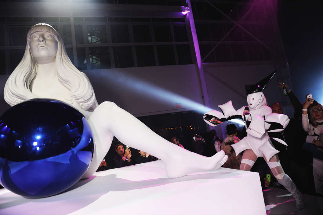 "BROOKLYN, NY - NOVEMBER 10:  Lady Gaga performs in concert to present ""artRave"" at Brooklyn Navy Yard on November 10, 2013 in the Brooklyn borough of New York City.  (Photo by Dimitrios Kambouris/Getty Images for 42 West)"