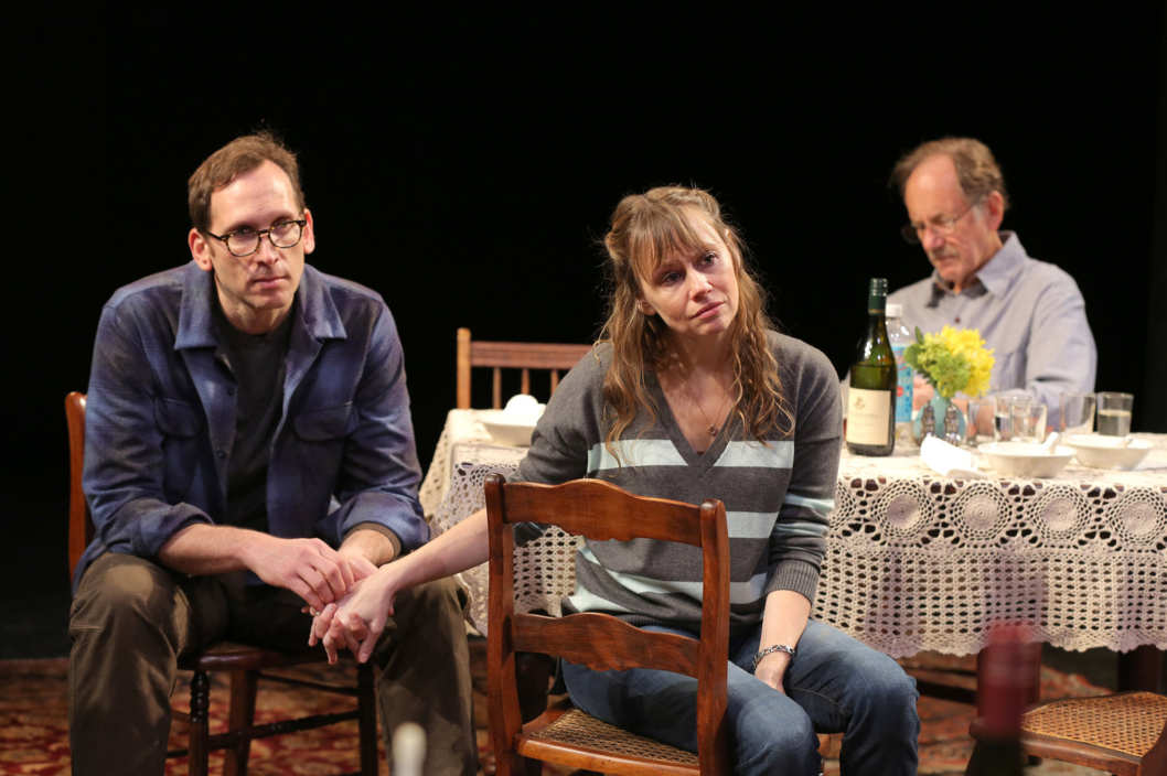 Stephen Kunken, Sally Murphy, and Jon DeVries in Regular Singing, written and directed by Richard Nelson, running at The Public Theater in repertory with The Apple Family Plays. Photo credit: Joan Marcus.