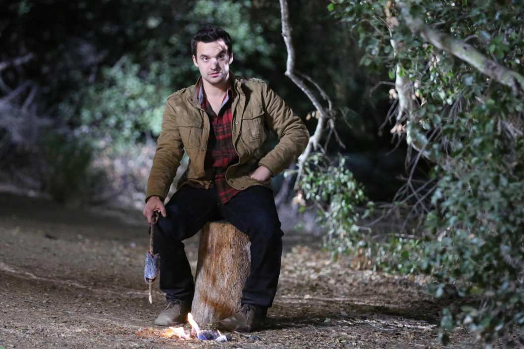 "NEW GIRL:  Nick (Jake Johnson) tries out his survival skills when the gang goes on a camping trip for Thanksgiving in the ""Thanksgiving III"" episode of NEW GIRL airing Tuesday, Nov. 26 (9:00-9:30 PM ET/PT) on FOX."