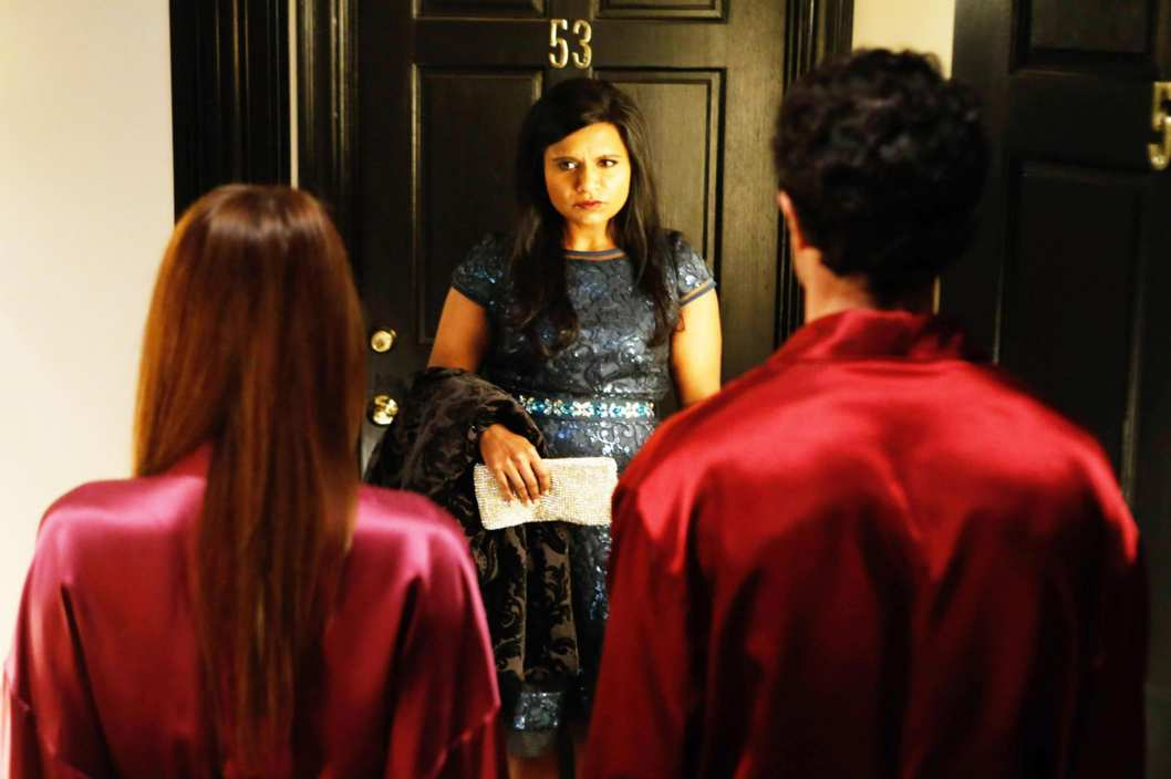 "THE MINDY PROJECT: Mindy's (Mindy Kaling, C) date and wife drop their robes in the ""Wedding Crushers"" episode of THE MINDY PROJECT airing Tuesday, Nov. 26 (9:30-10:00 PM ET/PT) on FOX."