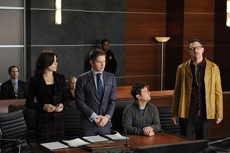 """Goliath and David""--Alicia represents a band suing a TV show for copyright infringement, but the simple case becomes psychological warfare when Will joins the opposing council and uses his knowledge of Alicia???€?™s strengths and weaknesses against her.  Also, Eli hires Kalinda in an attempt to get ahead of a potential scandal, on THE GOOD WIFE, Sunday, Jan 5 (9:00-10:00 PM, ET/PT) on the CBS Television Network Pictured L-R: Julianna Margulies as Alicia Florrick, Matt Czuchry as Cary Agos, Christopher Fitzgerald as Marshal, and Matthew Lillard as Rowby Photo: David M. Russell ?'??2013 CBS Broadcasting, Inc. All Rights Reserved"