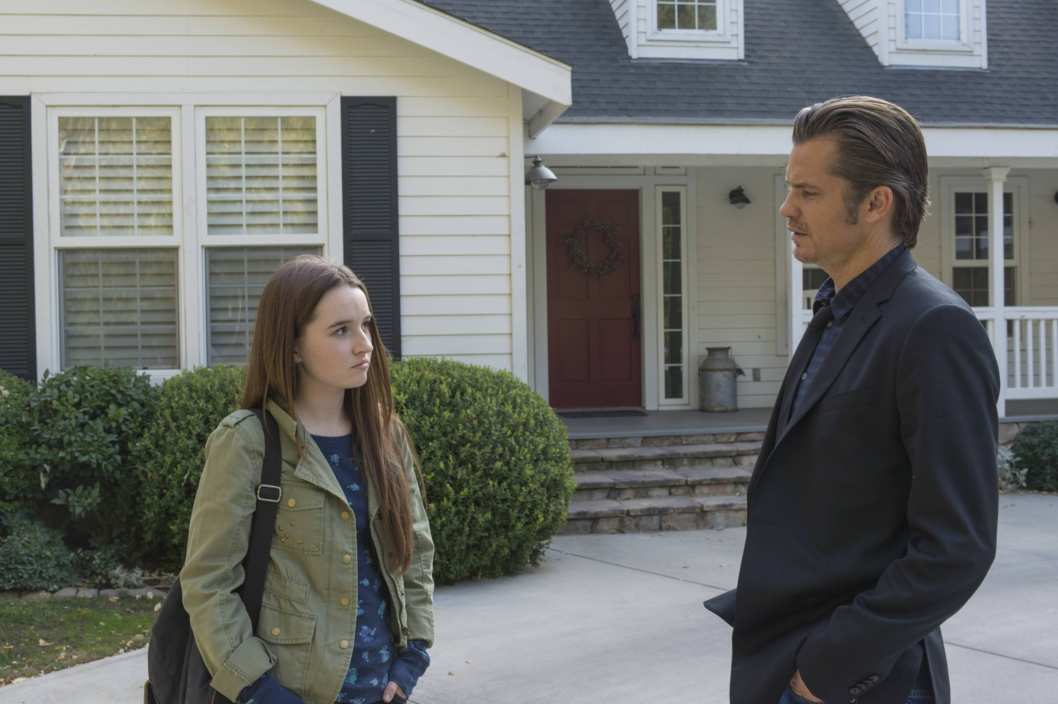 JUSTIFIED -- The Kids Aren't All Right -- Episode 502 (Airs Tuesday, January 14, 10:00 pm e/p) -- Pictured: (L-R) Kaitlyn Dever as Loretta, Timothy Olyphant as Deputy U.S. Marshal Raylan Givens -- CR: Prashant Gupta/FX