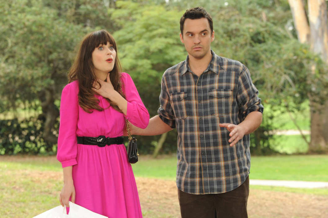 "NEW GIRL:  Jess (Zooey Deschanel, L) thinks Nick (Jake Johnson, R) organized a party for her at the local park in the ""Birthday"" episode of NEW GIRL."