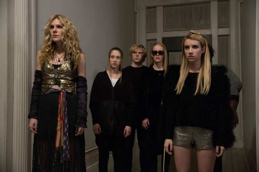 AMERICAN HORROR STORY: COVEN Go to Hell - Episode 312 (Airs Wednesday, January 22, 10:00 PM e/p) --Pictured: (L-R): Lily Rabe as Misty Day, Taissa Farmiga as Zoe, Evan Peters as Kyle, Sarah Paulson as Cordelia, Emma Roberts as Madison.