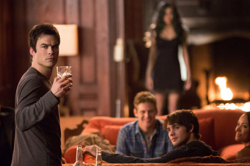 "The Vampire Diaries -- ""500 Years of Solitude"" -- Image Number: VD511b_0186r.jpg -- Pictured (L-R): Ian Somerhalder as Damon, Zach Roerig as Matt, Nina Dobrev as Katherine, Steven R. McQueen as Jeremy and Kat Graham as Bonnie."