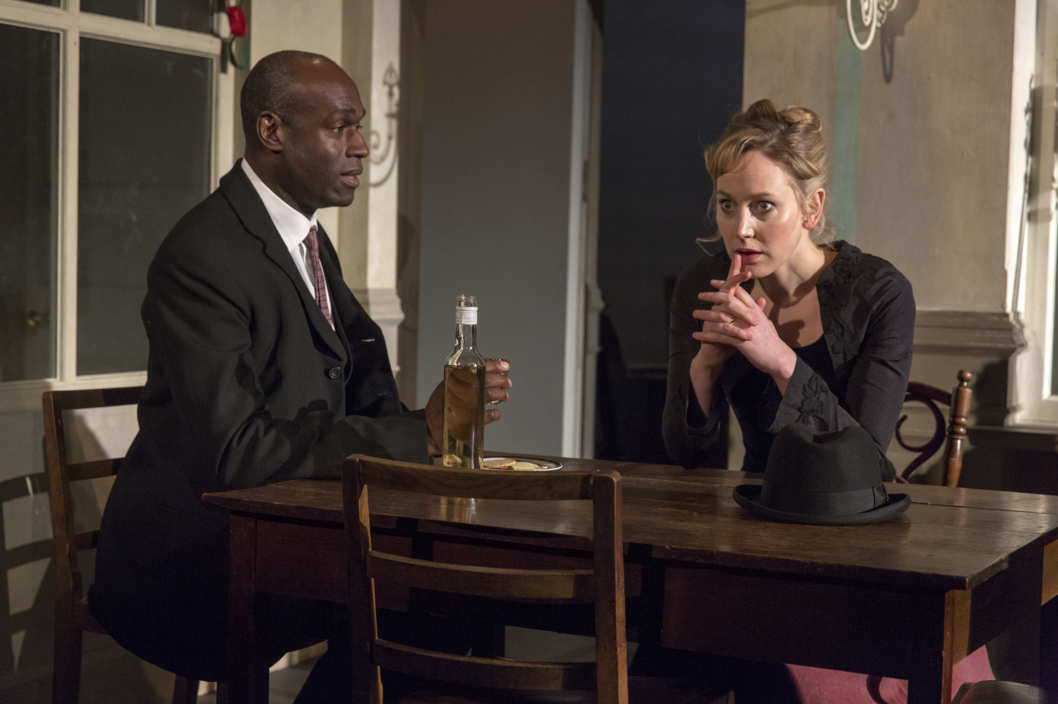 Photo: Hattie Morahan & Steve Toussaint in A DOLL'S LIFE by Henrik Ibsen English language version by Simon Stephens Young Vic Directed by Carrie Cracknell; Part of 2014 Winter/Spring Season; Photo Call: Tuesday, February 25, 2014; 4:00 PM at the BAM Harvey Theater; Brooklyn Academy of Music, NYC;  Photograph: ? 2014 Richard Termine  PHOTO CREDIT - Richard Termine