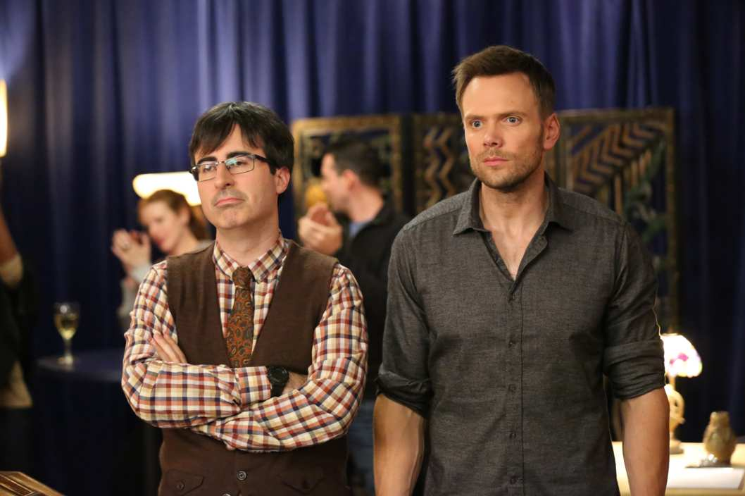 "COMMUNITY -- ""Bondage and Beta Male Sexuality"" Episode 507 -- Pictured: (l-r) John Oliver as Dr. Ian Duncan, Joel McHale as Jeff -- (Photo by: Adam Taylor/NBC)"