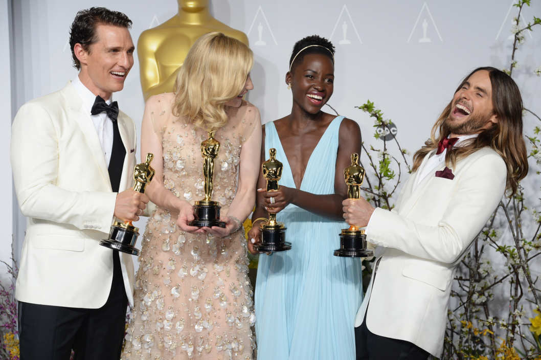 HOLLYWOOD, CA - MARCH 02:  (L-R) Actor Matthew McConaughey, actress Cate Blanchett, actress Lupita Nyong'o and actor Jared Leto pose in the press room during the Oscars at Loews Hollywood Hotel on March 2, 2014 in Hollywood, California.  (Photo by Jeff Kravitz/FilmMagic)