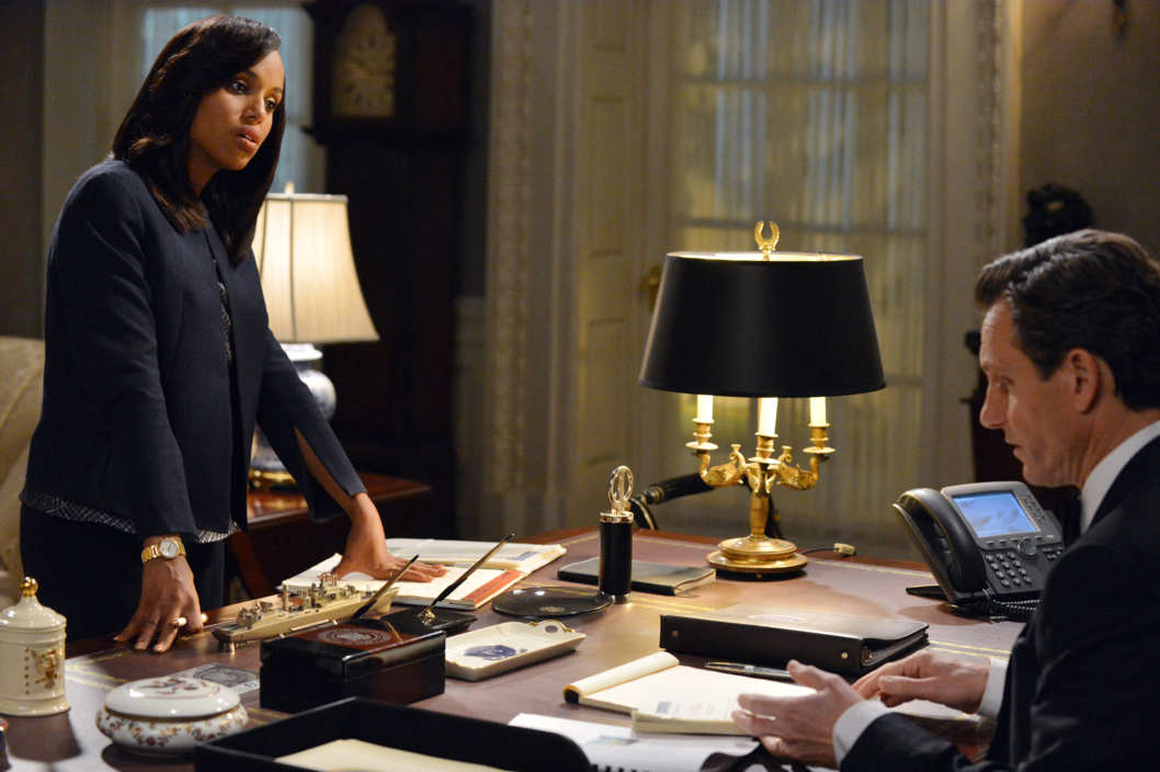 "SCANDAL - ""We Do Not Touch the First Ladies"" - Old feelings and jealousies arise at a Presidential event causing Fitz to face a harsh reality. Meanwhile, Quinn tries to prove herself to B613 and Leo Bergen sets up a meeting between Sally and an old friend, on ABC's ""Scandal,"" THURSDAY, MARCH 6 (10:00-11:00 p.m., ET) on the ABC Television Network.(ABC/Eric McCandless)KERRY WASHINGTON, TONY GOLDWYN"