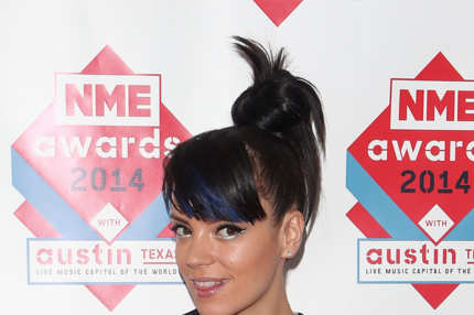 LONDON, ENGLAND - FEBRUARY 26:  Lily Allen poses in the winners room with her award for Best Solo Artist at the annual NME Awards at Brixton Academy on February 26, 2014 in London, England.  (Photo by Tim P. Whitby/Getty Images)