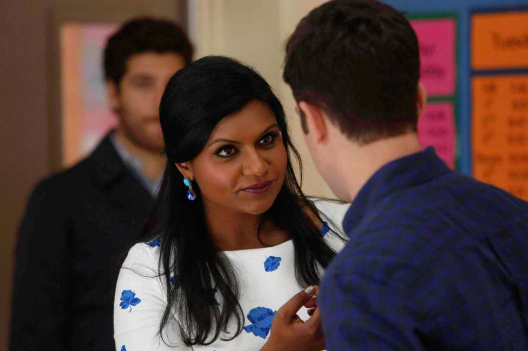 "THE MINDY PROJECT: Mindy (Mindy Kaling, C) and Peter (Adam Pally, L) pay Lee (guest star Max Greenfield, R) a surprise visit in the ""Think Like a Peter"" time period premiere episode of THE MINDY PROJECT airing Tuesday, April 15 (9:30-10:00 PM ET/PT) on FOX."