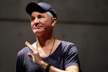 Baz Luhrmann addresses the media during a rehearsal of the Australian musical 'Strictly Ballroom The Musical' at Carriageworks on February 25, 2014 in Sydney, Australia.