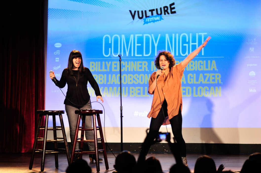 NEW YORK, NY - MAY 11:  Abbi Jacobson and  Ilana Glazer perform at Vulture Festival Comedy Night at The Bell House on May 11, 2014 in New York City.  (Photo by Stephen Lovekin/Getty Images for New York Magazine)