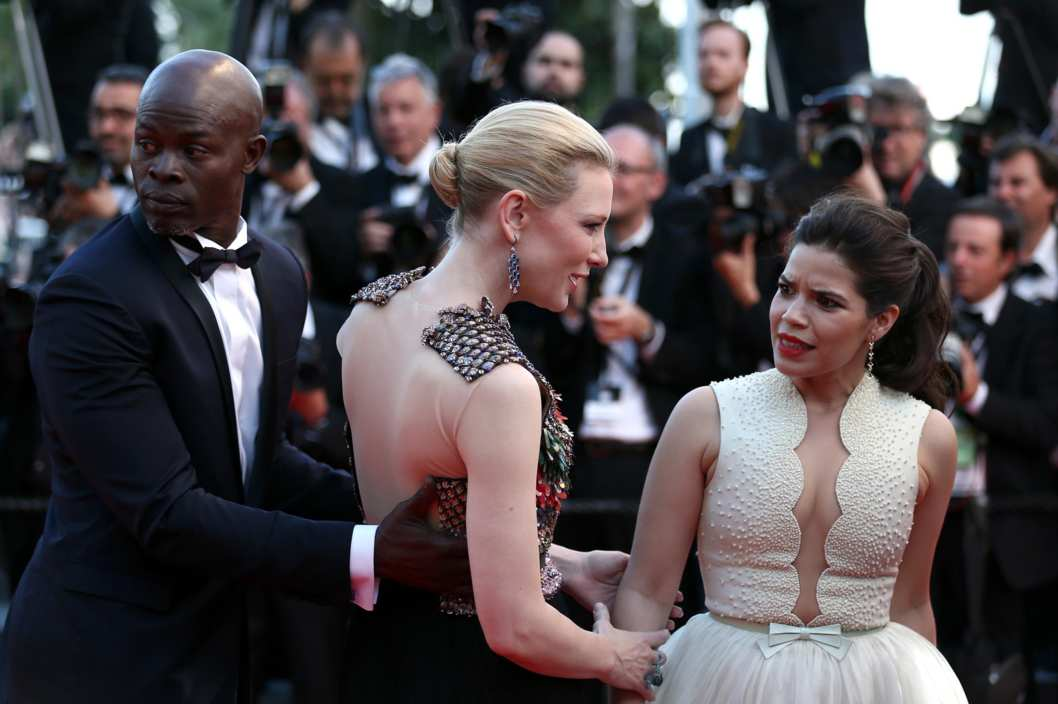 "CANNES, FRANCE - MAY 16:  America Ferrera reacts at the ""How To Train Your Dragon 2"" premiere during the 67th Annual Cannes Film Festival on May 16, 2014 in Cannes, France.  (Photo by Andreas Rentz/Getty Images)"