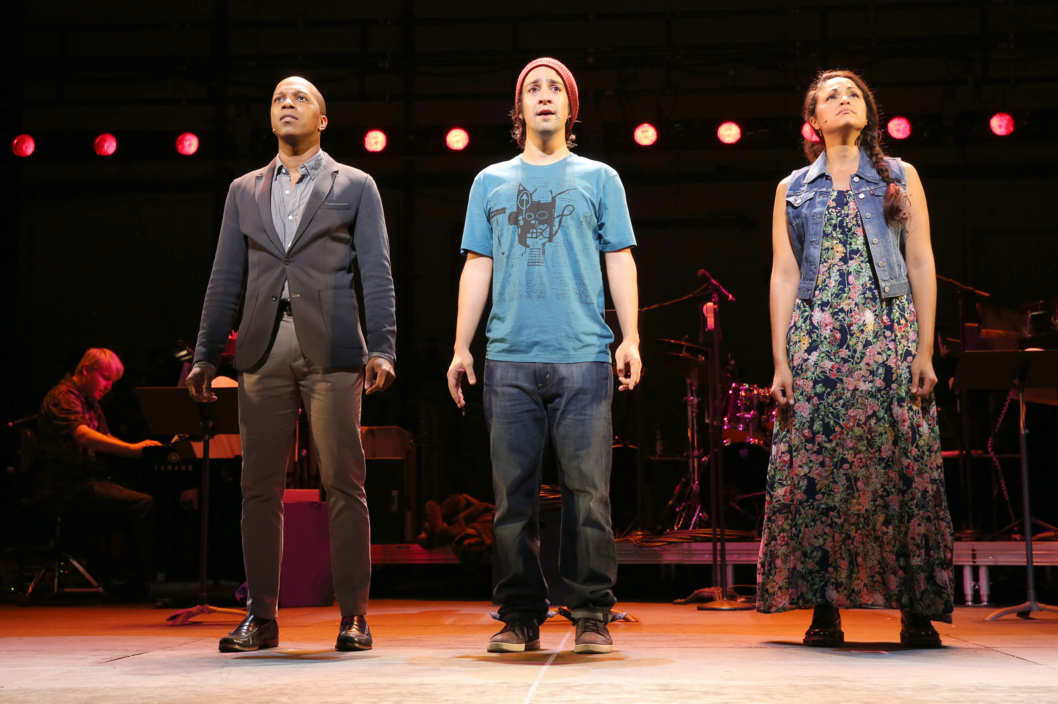 Tick Tick BoomCity CenterCast & CreditsBook, Music and Lyrics by Jonathan LarsonScript Consultant David AuburnVocal Arrangements and Orchestrations by Stephen OremusChoreographed by Camille A. BrownMusic Direction by Chris FenwickDirected by Oliver ButlerStarring Lin-Manuel Miranda, Leslie Odom Jr. and Karen Olivo