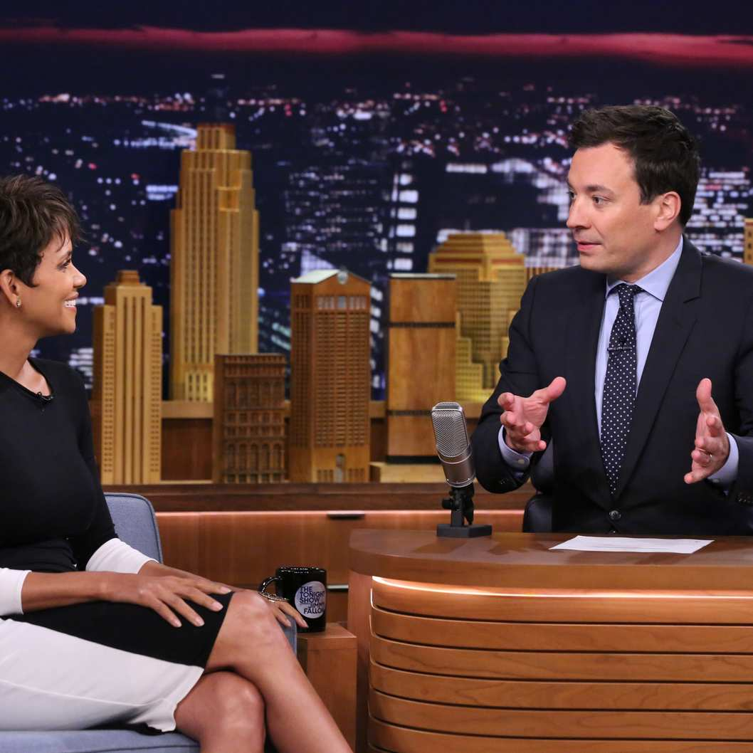 THE TONIGHT SHOW STARRING JIMMY FALLON -- Episode 0081 -- Pictured: (l-r) Actress Halle Berry during an interview with host Jimmy Fallon on July 8, 2014 -- (Photo by: Douglas Gorenstein/NBC/NBCU Photo Bank)