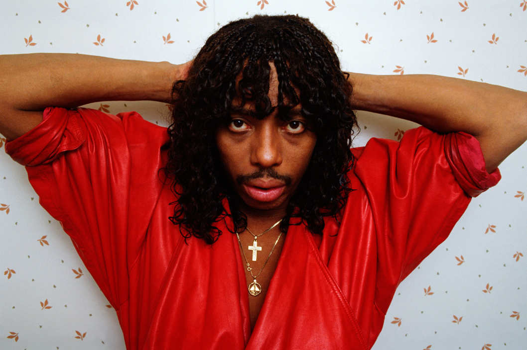 "WEST HOLLYWOOD, CA - 1987:  ""Super Freak"" funk and soul singer Rick James poses during a 1987 West Hollywood, California photo session. Plagued with a history of drug and alcohol abuse, James died of apparent natural causes in 2004.  (Photo by George Rose/Getty Images)"